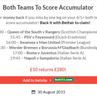 Winning Both Teams To Score Accumulator