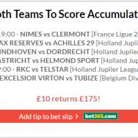 Both Teams to Score Accumulator lands