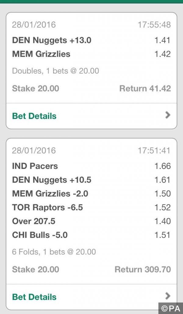 12/1 Winning NBA Accumulator & Double
