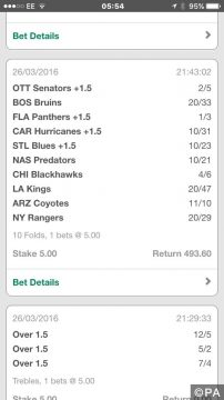 NHL winning bet slip