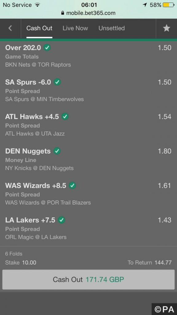 cash out bet365