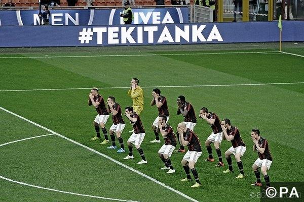 AC Milan perform the Haka
