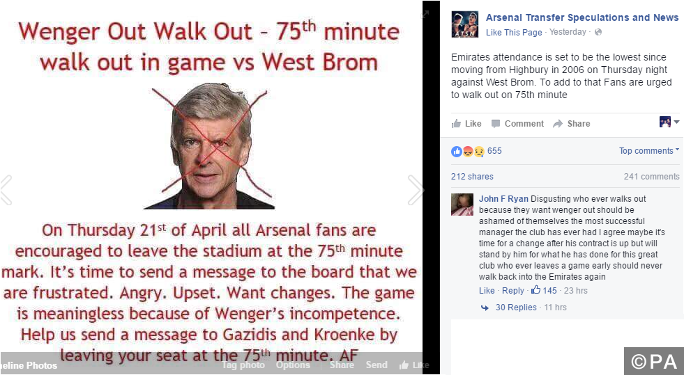 Arsenal fans plan walk out