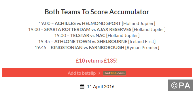 Free Super Tips both teams to score tips