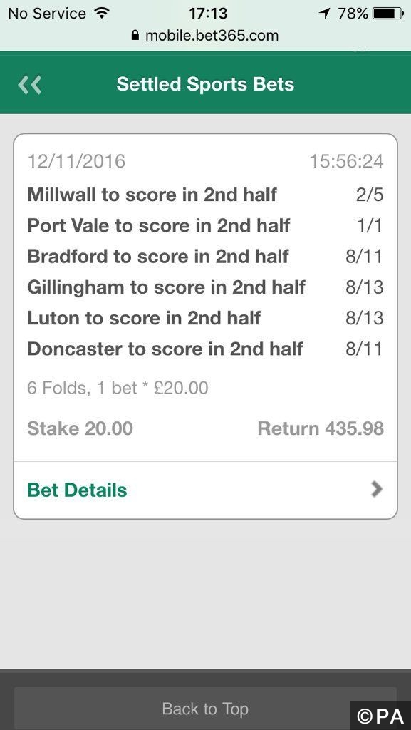 SkyBet Half Time Price Boost