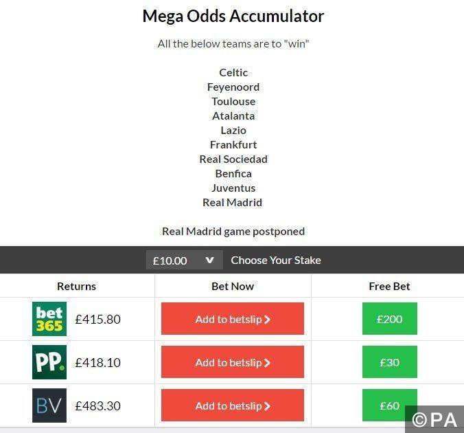 Mega odds acca wins