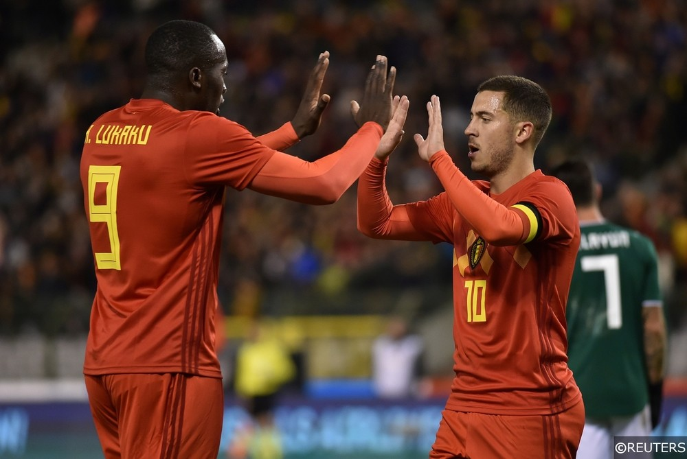 Lukaku and Hazard Celebrate a World Cup warm up victory
