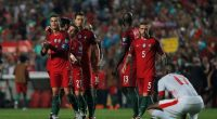 Portugal celebrating their win over Switzerland in World Cup 2018 qualifying