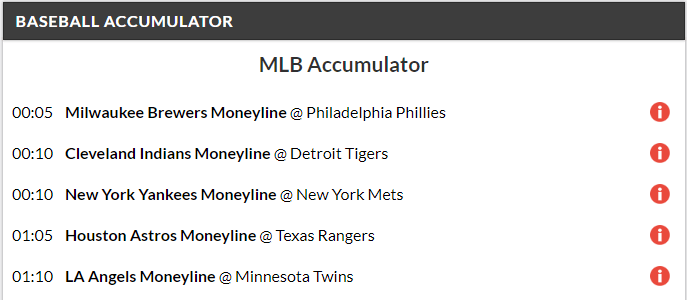 14/1 MLB Acca Winner