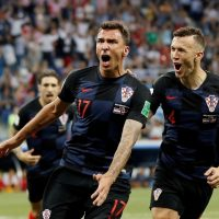 Mario Mandzukic celebrates his goal against Denmark at the 2018 World Cup