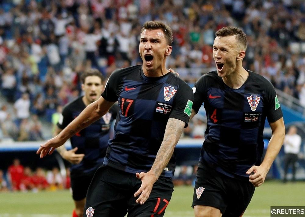 Mario Mandzukic celebrates his goal against Denmark at the 2018 World Cup
