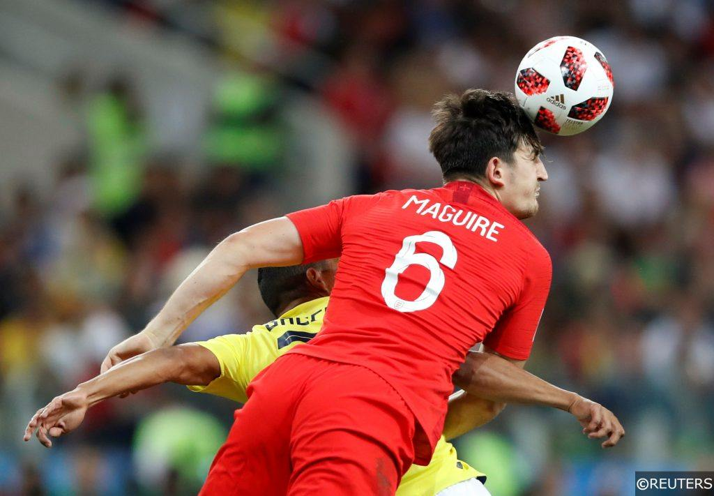 Harry Maguire for England against Colombia at the World Cup