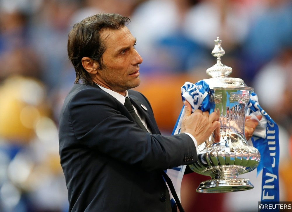 Antonio Conte lifts the FA Cup for Chelsea