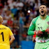 Danijel Subasic in action for Croatia