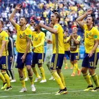 Sweden celebrate their Last 16 win at the 2018 World Cup