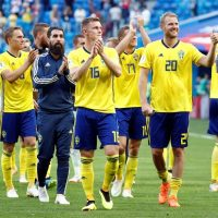 Sweden players celebrate their Last 16 win at the World Cup