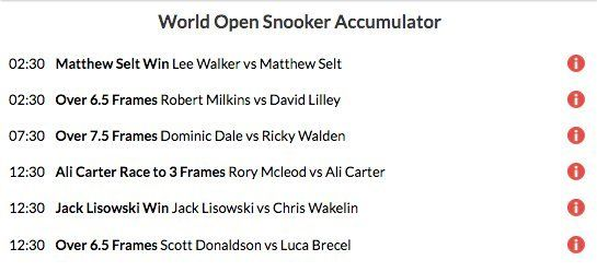 9/1 snooker acca lands