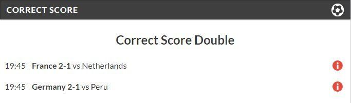 79/1 Correct Score Double Lands!