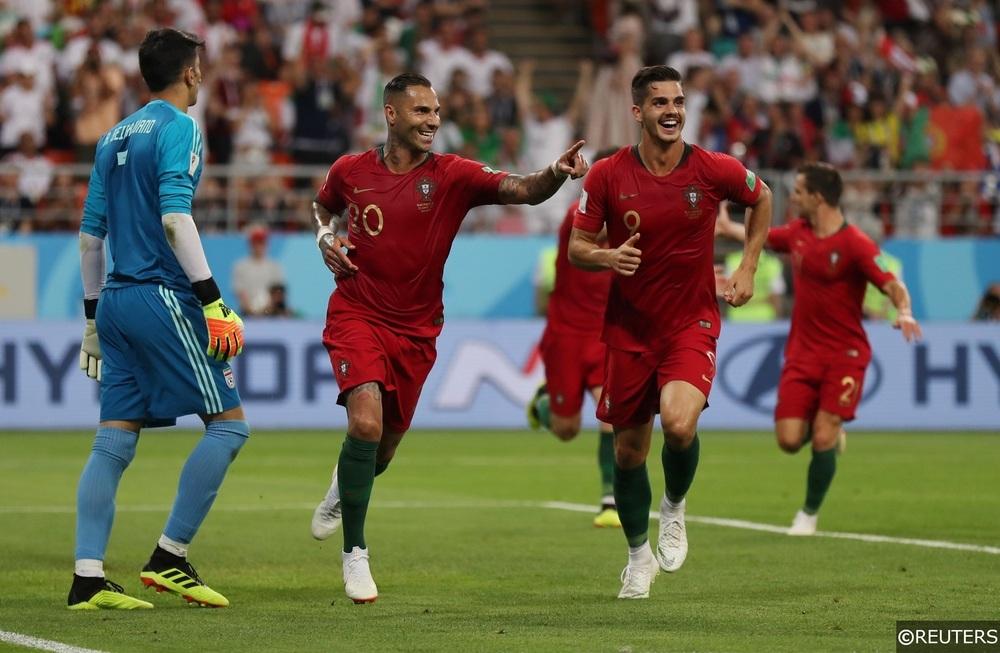 Portugal Celebrate Andre Silva's goal