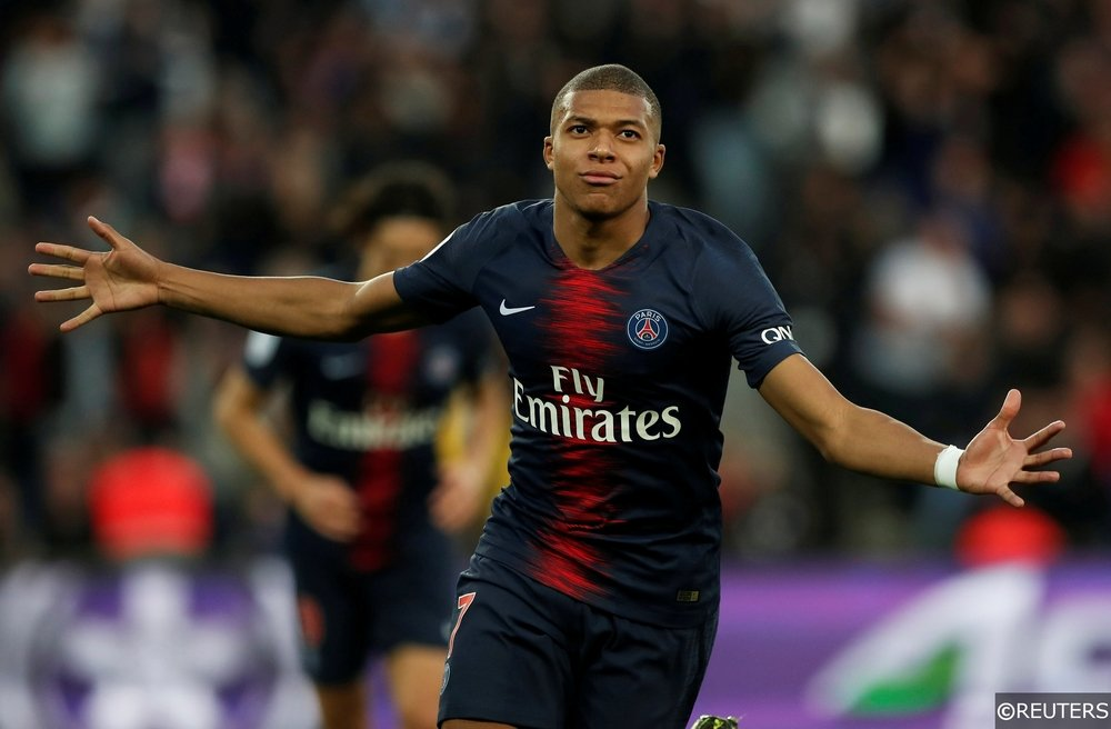 Mbappe celebrates scoring for PSG