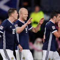 Scotland celebrate their second goal in a 2-0 win over Albania in the Nations League