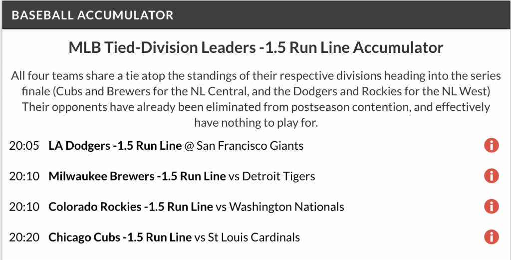 MLB Acca lands on Sunday