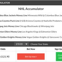 11/1 NHL Acca wins on Thursday