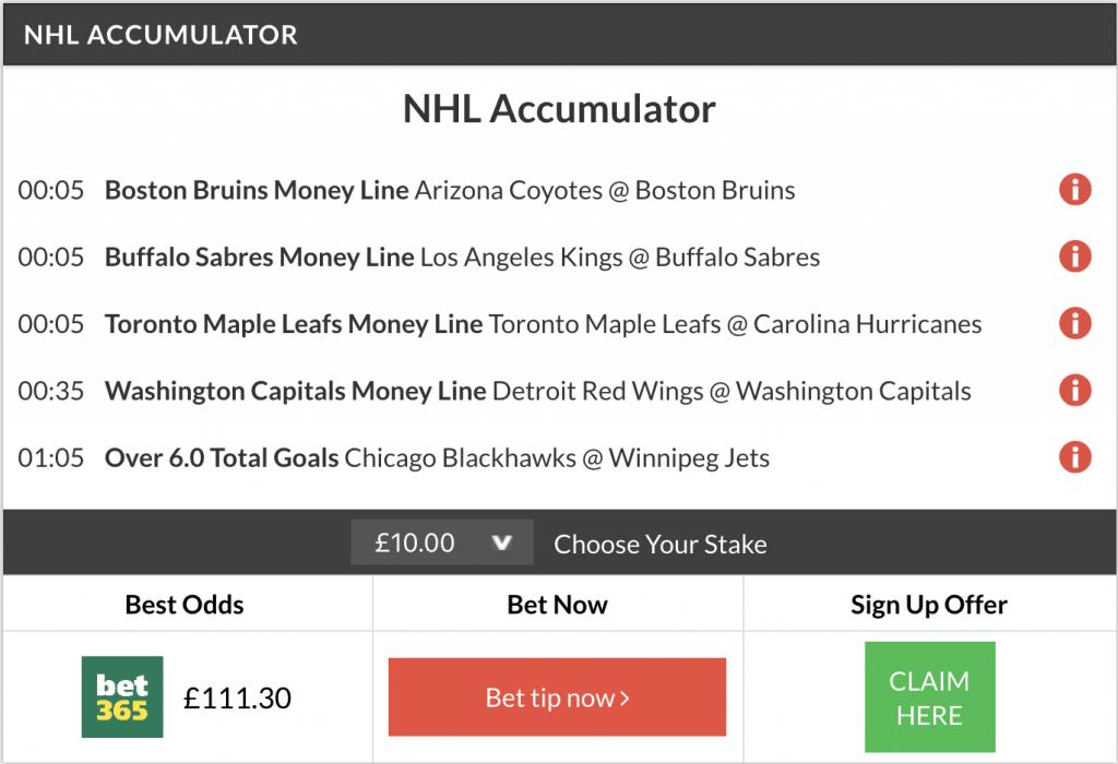 10/1 NHL acca winner