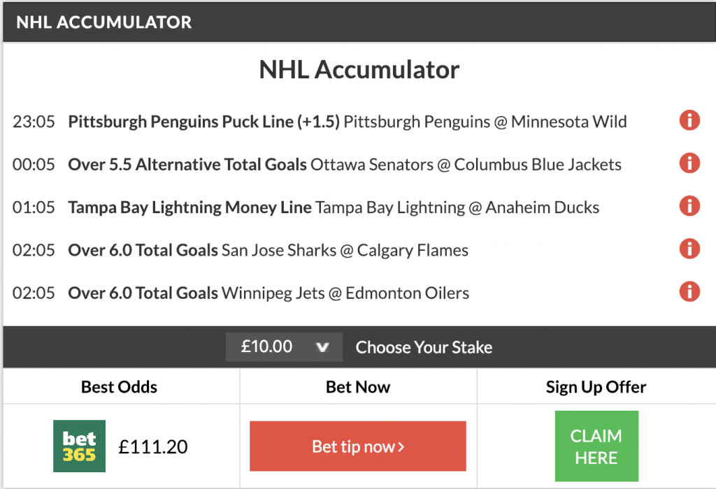nhl accumulator + double land