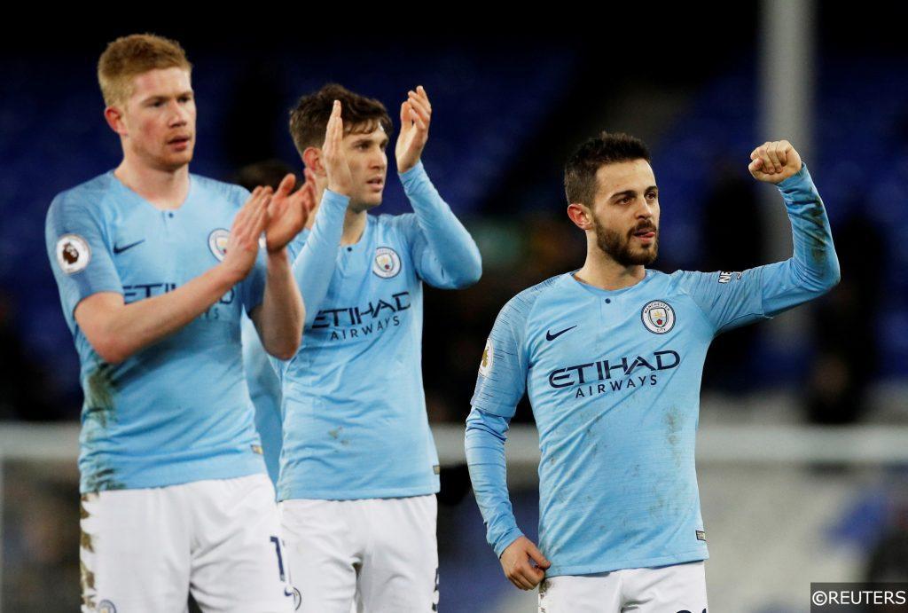 Kevin De Bruyne, Bernardo Silva and John Stones Manchester City