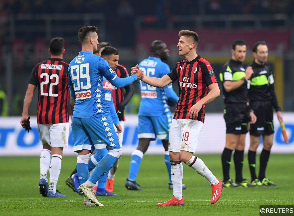 Krzysztof Piatek in Serie A action for AC Milan