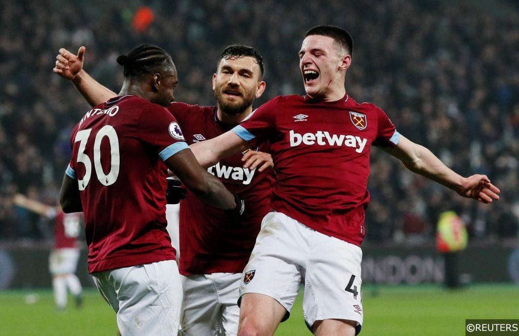 Declan Rice, Michail Antonio, Robert Snodgrass West Ham