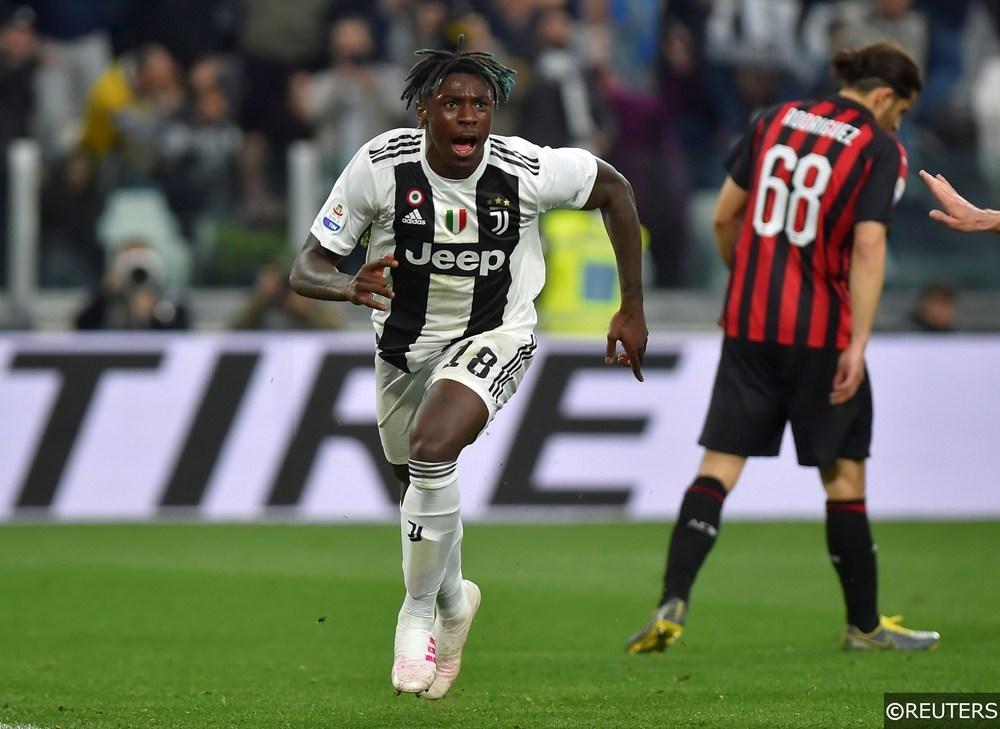 Juventus forward Moise Kean celebrates scoring in Serie A
