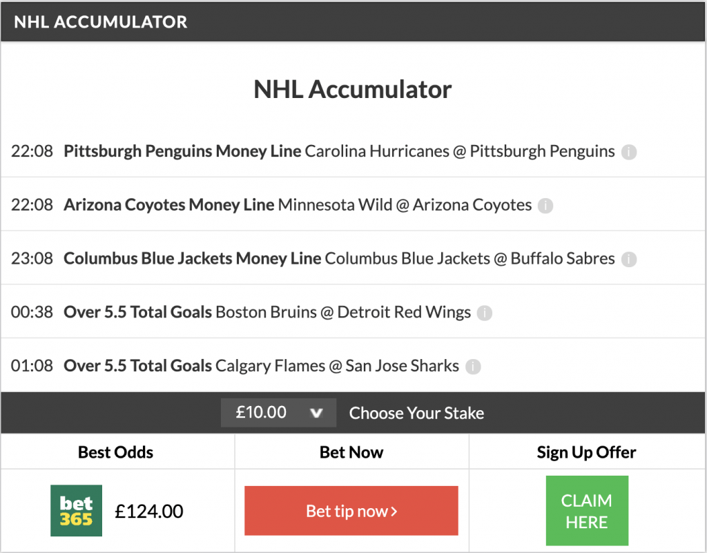 11/1 NHL Acca lands
