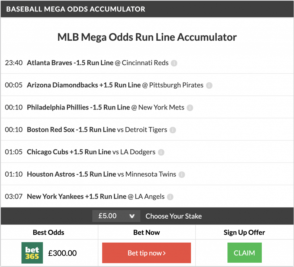 59/1 MLB Mega, 12/1 MLB Acca & MLB Double land on Wednesday Night!