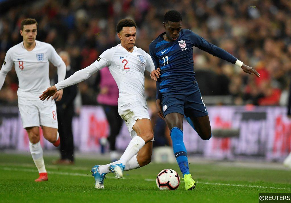 Timothy Weah in action for the USA