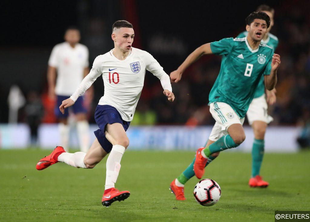 Phil Foden in action for England U21