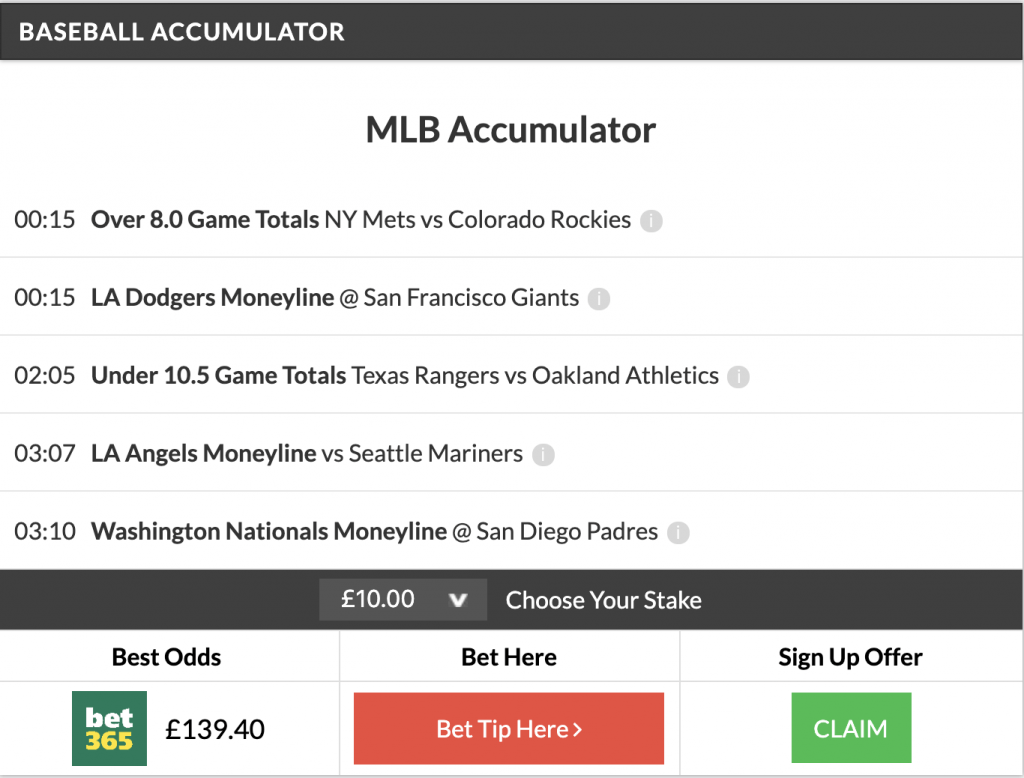 7/1 MLB Acca Lands
