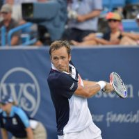 Russian Tennis Player Daniil Medvedev playing a shot at the Western and Southern