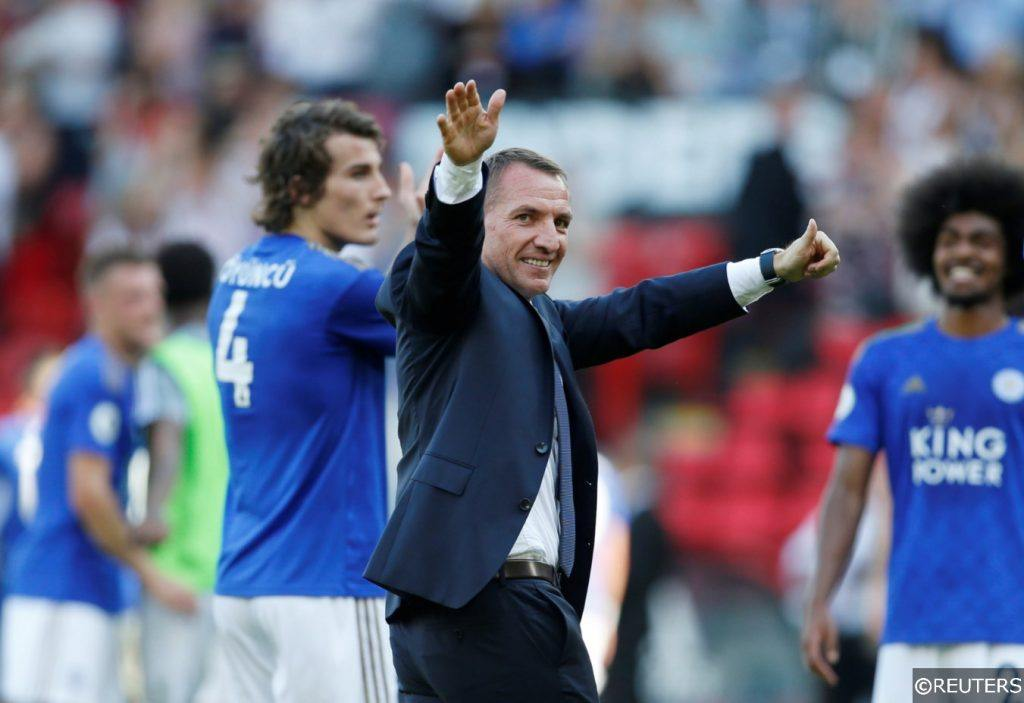 Leicester City manager Brendan Rodgers thumbs up after match at Stamford Bridge