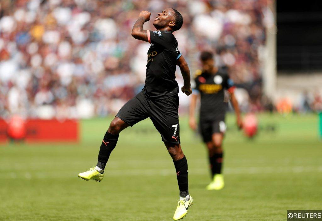 Raheem Sterling celebrates scoring vs West Ham