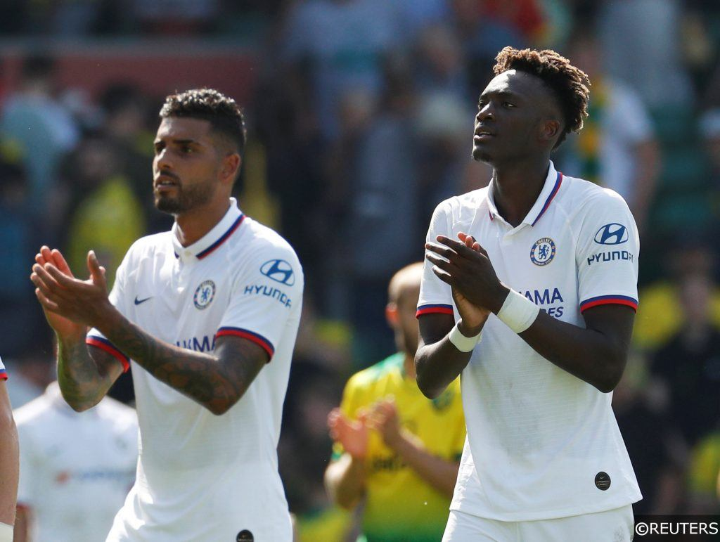 Chelsea's Emerson Palmieri and Tammy Abraham applaud fans after the Norwich game