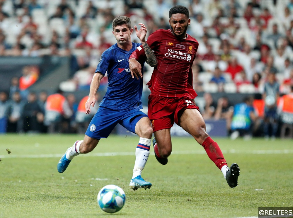 Chelsea's Christian Pulisic in action with Liverpool's Joe Gomez at the Super Cup