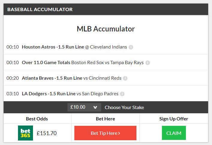 MLB 6/1 Accumulator winner