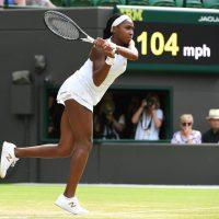 Cori Gauff playing a backhand shot at Wimbledon
