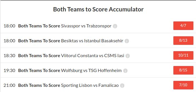 11/1 Both teams to score accumulator winner