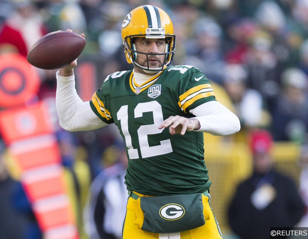 Aaron Rodgers playing quarterback for the Green Bay Packers