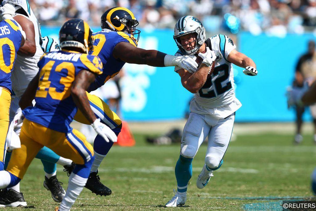 Christian McCaffrey running against Rams