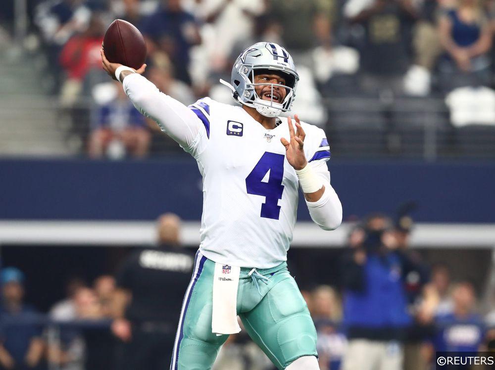 Dak Prescott throwing for Dallas Cowboys