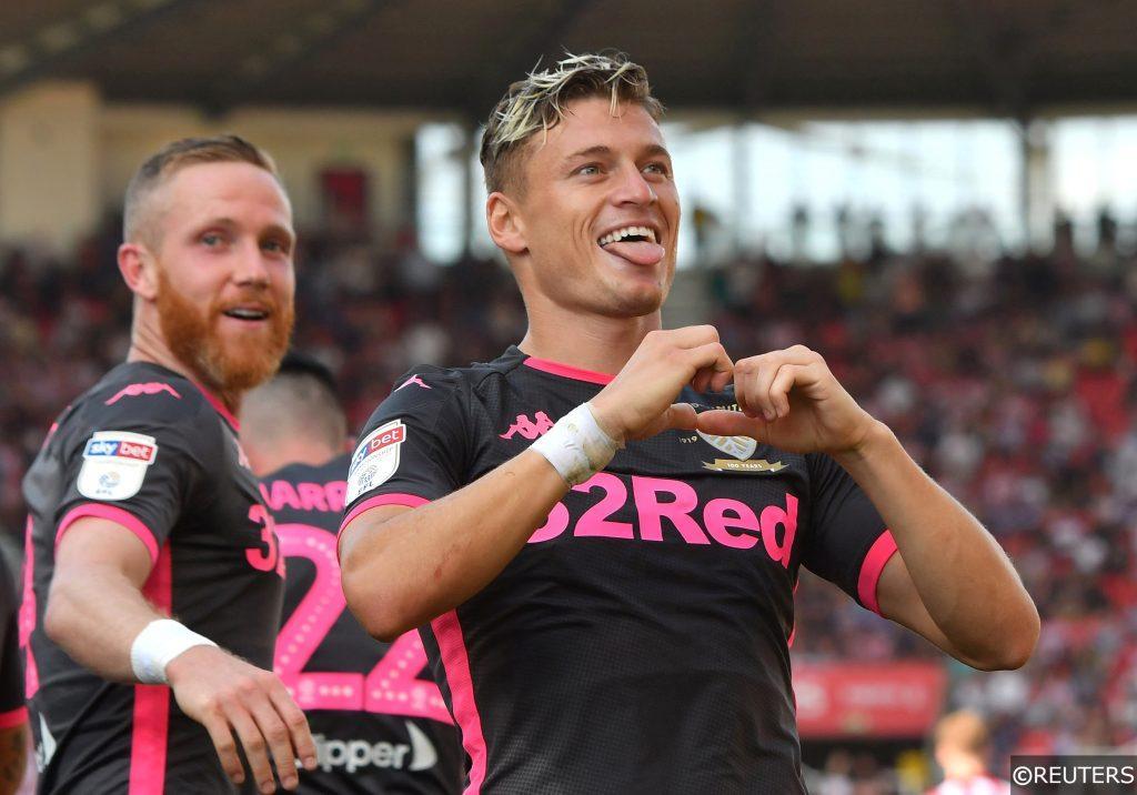 Leeds United's Ezgjan Alioski scores away to Stoke